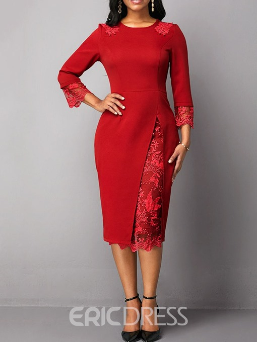 Ericdress Mid-Calf Lace Three-Quarter Sleeve Floral Regular Dress