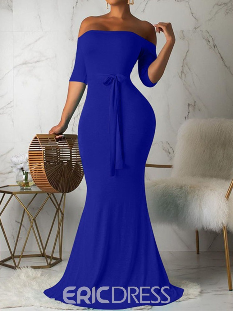 Ericdress Three-Quarter Sleeve Floor-Length Off Shoulder Plain Summer Dress