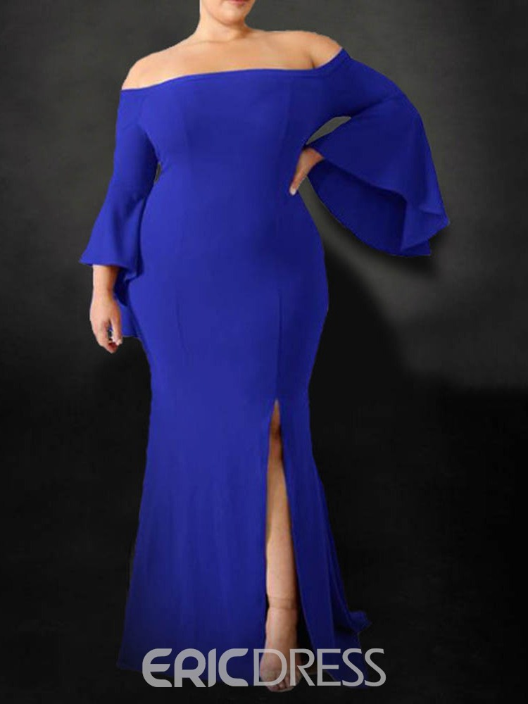 Ericdress Floor-Length Off Shoulder Split Bodycon Flare Sleeve Dress
