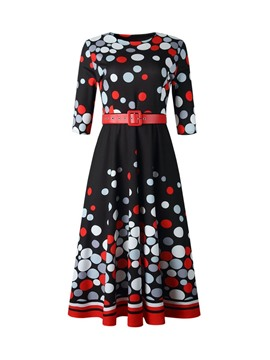 Ericdress Print Half Sleeve Round Neck Polka Dots Regular Dress