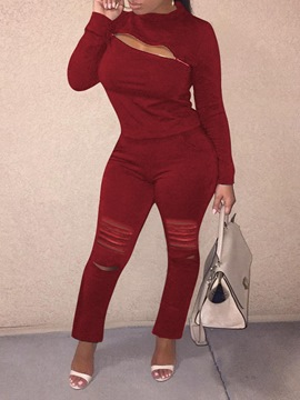 Ericdress Plain Casual Pullover Zipper Two Piece Sets