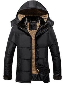 Ericdress Mid-Length Hooded Plain Casual Zipper Men's Down Jacket