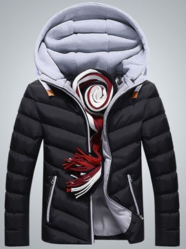Ericdress Patchwork Color Zipper Casual Men's Down Jacket