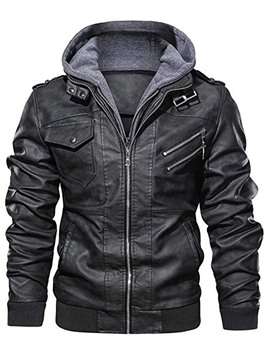 Ericdress Standard Hooded Plain Slim Patchwork Men's Leather Jacket