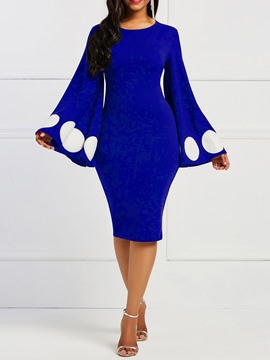 Ericdress Round Neck Long Sleeve Mid-Calf Geometric Bodycon Dress