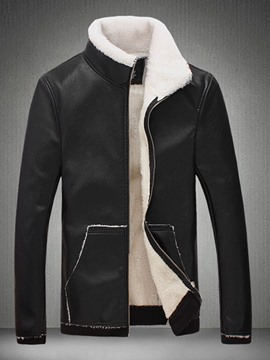 Ericdress Standard Color Block Zipper Patchwork Men's Leather Jacket