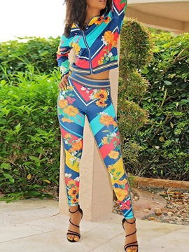 Ericdress Plant Print African Fashion Dashiki Zipper Two Piece Sets