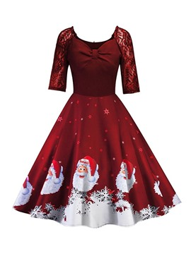 Ericdress Christmas Half Sleeve V-Neck Lace Cartoon Summer Dress