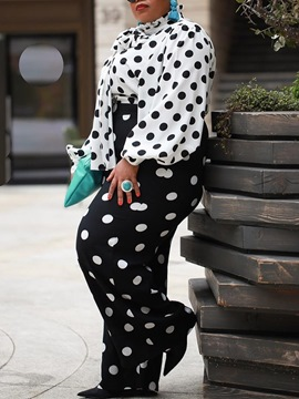 Ericdress Plus Size Casual Polka Dots Straight Two Piece Sets