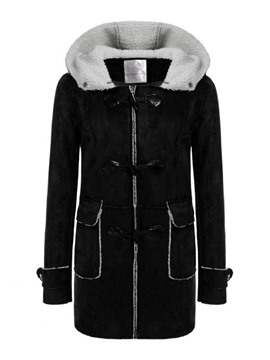 Ericdress Horn Button Straight Button Women's Mid-Length Winter Overcoat