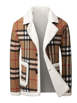 Ericdress Patchwork Standard Plaid Korean Single-Breasted Men's Down Jacket