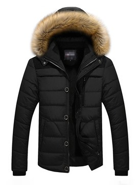 Ericdress Zipper Color Block Standard Men's Down Jacket