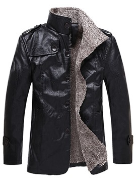 Ericdress Mid-Length Stand Collar Plain Korean Men's Leather Jacket