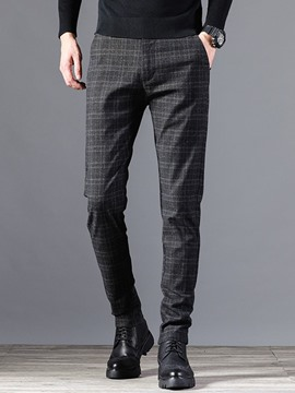 Ericdress Plaid Pocket Mid Waist Men's Casual Pants