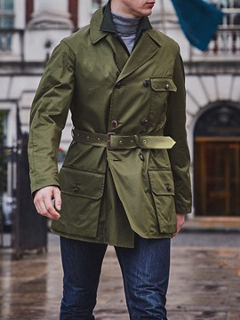 Ericdress Mid-Length Notched Lapel Button Slim Men's Trench Coat