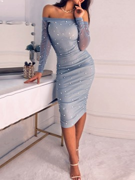 Ericdress Mid-Calf Long Sleeve Bead Bodycon Cold Shoulder Dress