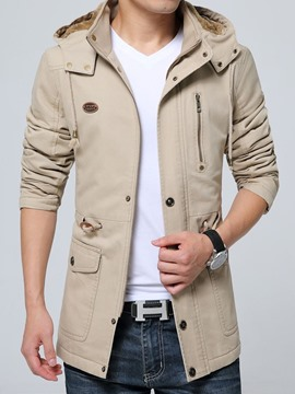Ericdress Plain Thick Hooded European Men's Jacket