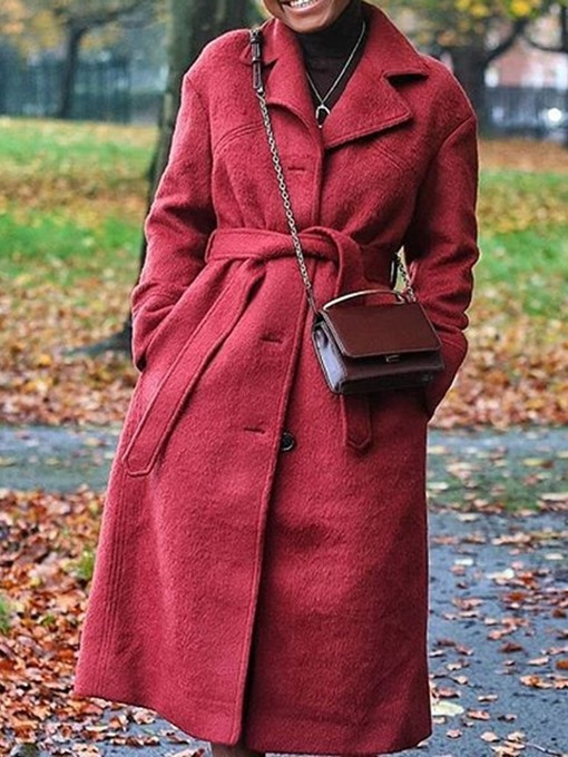 Ericdress Single-Breasted Regular A Line Notched Lapel Long Women's Overcoat