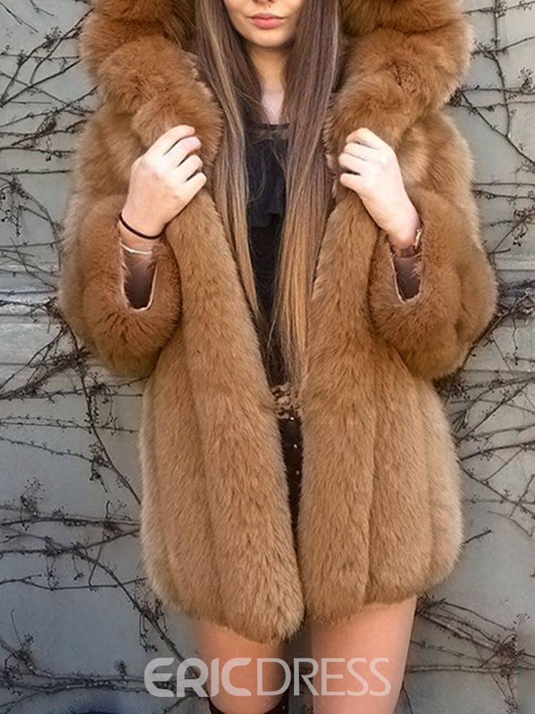 Ericdress Hooded Plain Mid-Length Winter Thick Women's Faux Fur Overcoat
