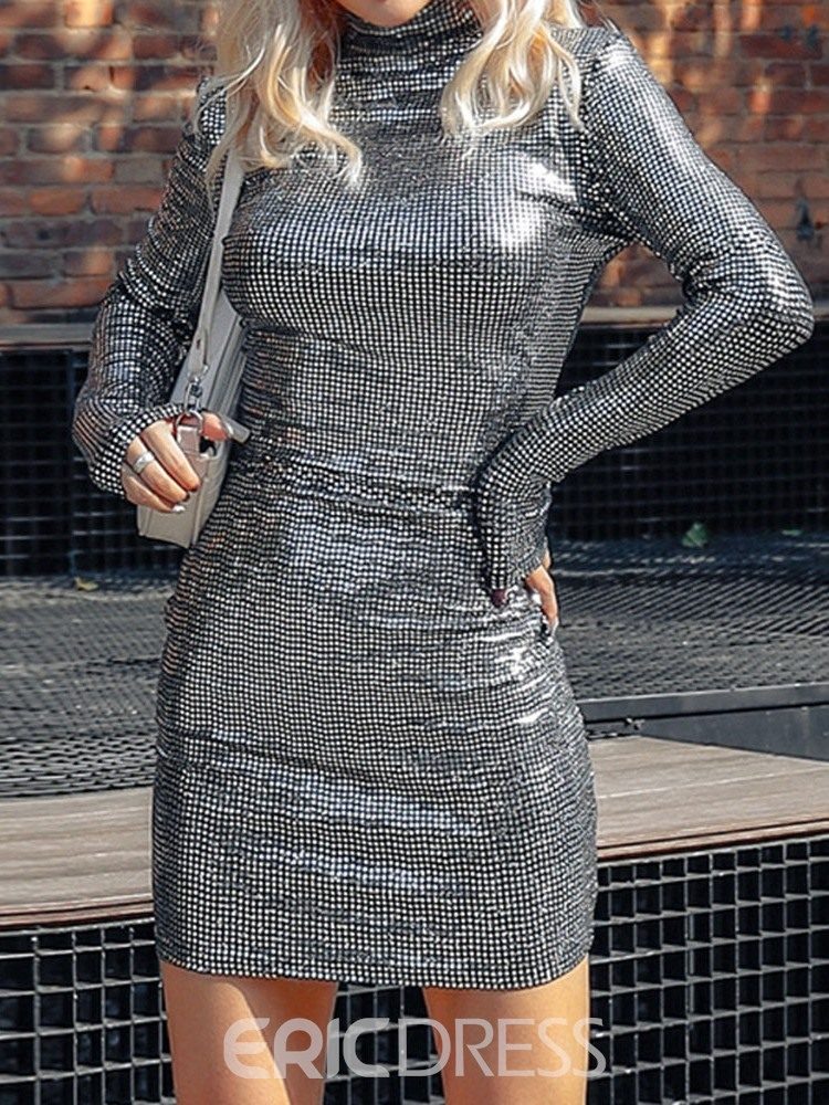 Ericdress Turtleneck Sequins Above Knee Bodycon Plain Dress