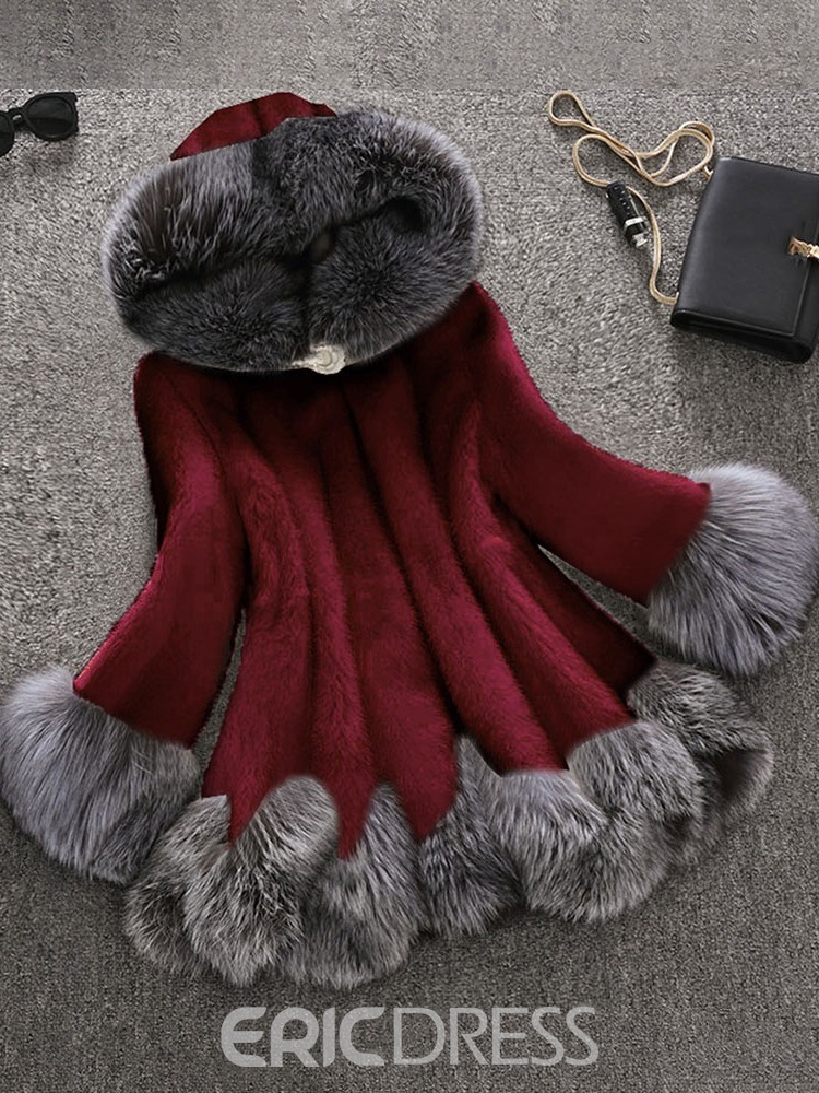 Ericdress Hooded Mid-Length Thick Loose Women's Faux Fur Overcoat