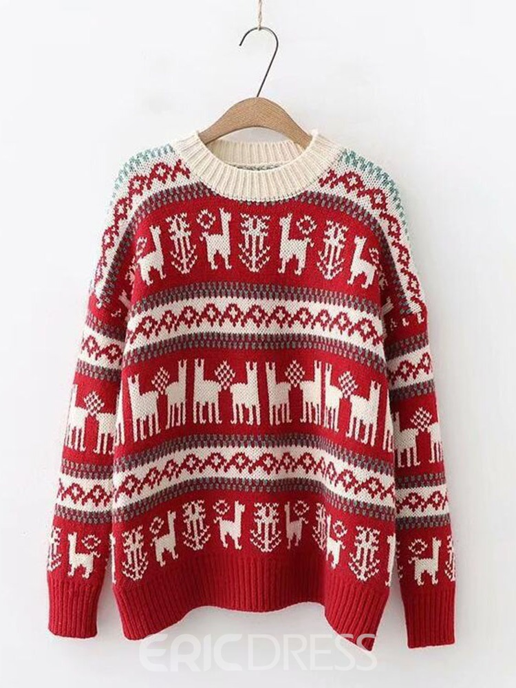 Ericdress Loose Christmas Women's Long Sleeve Sweater