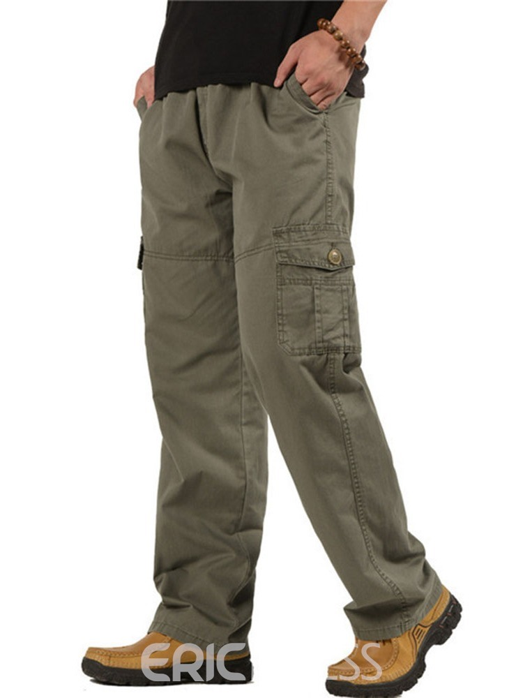Ericdress Plain Overall Pocket Casual Mid Waist Men's Casual Pants