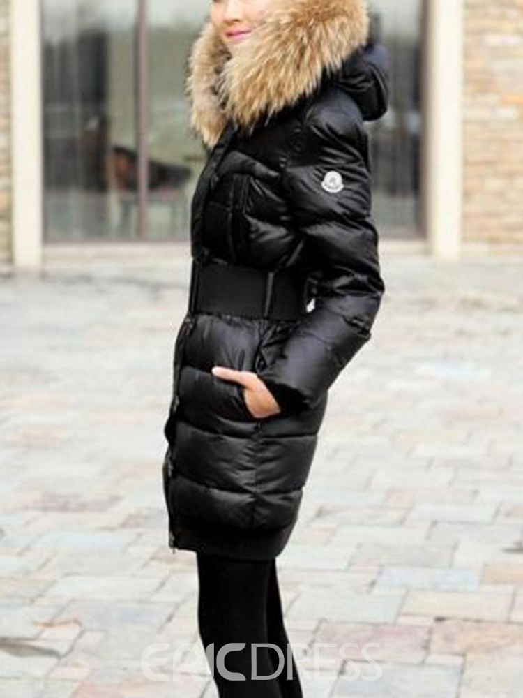 Ericdress Thick Slim Mid-Length Cotton Padded Coat