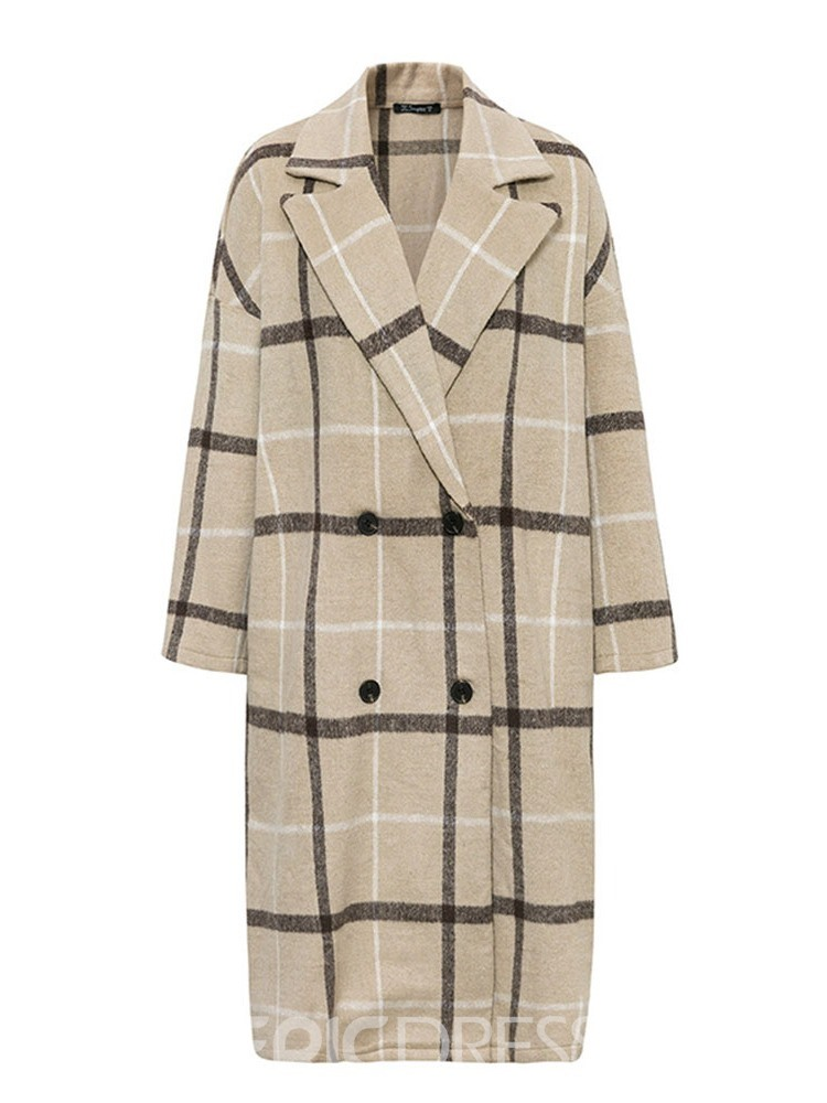 Ericdress Loose Double-Breasted Long Notched Lapel Women's Overcoat