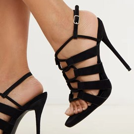 Ericdress Stiletto Heel Buckle Open Toe Hollow Sandals