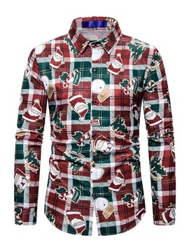 Ericdress Lapel Cartoon Casual Slim Christmas Men's Shirt