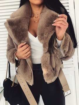 Ericdress Notched Lapel Standard Thick Slim Faux Fur Overcoat