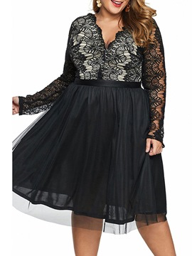 Ericdress Plus Size Mid-Calf Lace V-Neck A-Line Pullover Dress