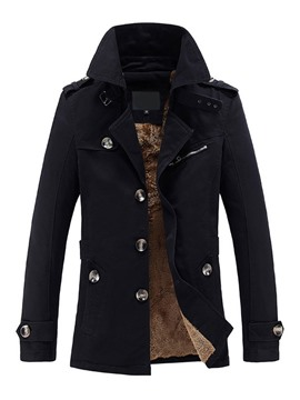 Ericdress Plain Lapel Mid-Length Slim Casual Men's Trench Coat