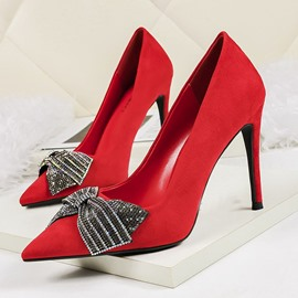 Ericdress Pointed Toe Stiletto Heel Slip-On Low-Cut Upper Pumps