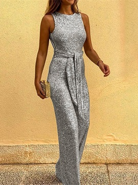 Ericdress Plain Backless Full Length Slim Straight Jumpsuit