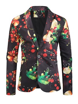 Ericdress Notched Lapel Button Cartoon Christmas Men's Leisure Blazers