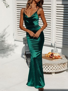 Ericdress Backless V-Neck Sleeveless Mermaid Pullover Dress