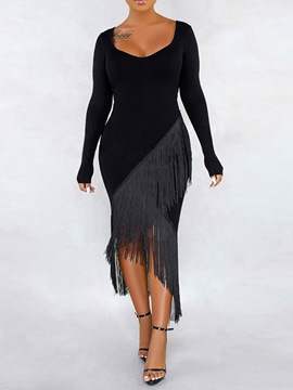 Ericdress Long Sleeve Mid-Calf Tassel Bodycon Pullover Dress
