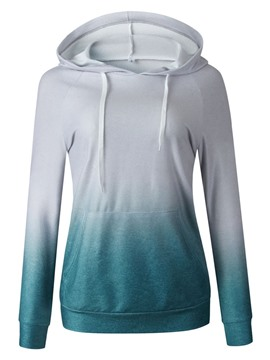 Ericdress Color Block Women's Mid-Length Hooded Hoodie