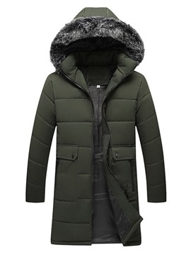 Ericdress Hooded Mid-Length Plain Zipper Casual Men's Down Jacket