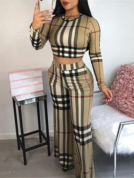 Ericdress Print Plaid Bellbottoms Pullover Two Piece Sets