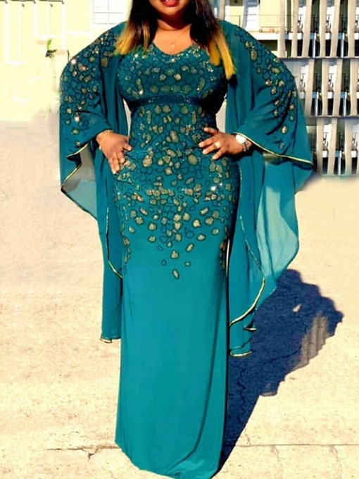 Ericdress Plus Size Embroidery V-Neck Long Sleeve Spring Pullover Dress