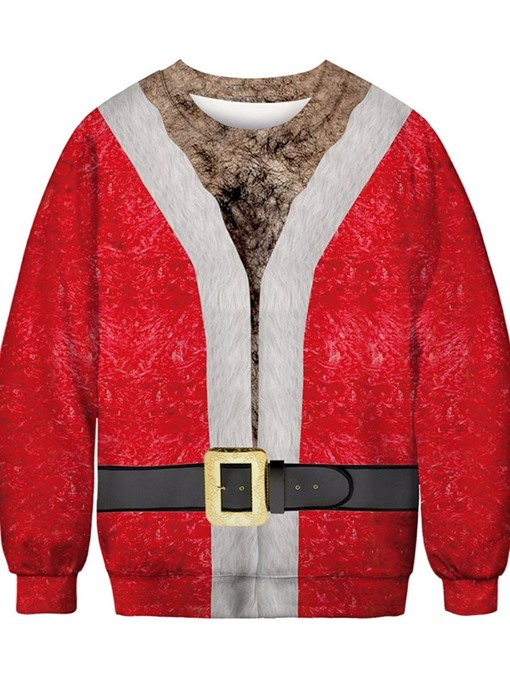 Ericdress Christmas Print Thick Pullover Round Neck Loose Men's Hoodies