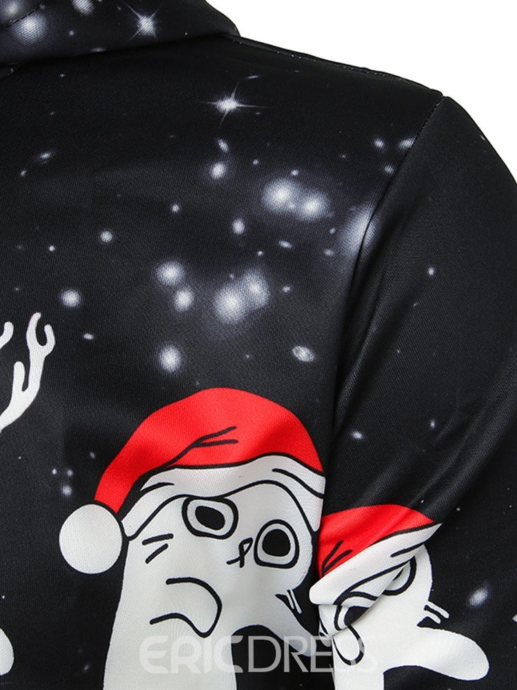 Ericdress Thick Pullover Print Christmas Men's Hoodies