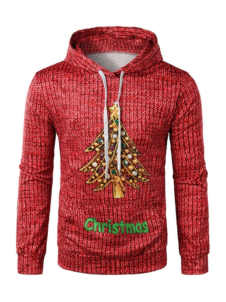 Ericdress Thick Print Letter Christmas Pullover Men's Hoodies