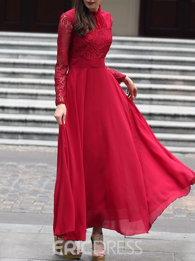 Ericdress Ankle-Length Long Sleeve Lace Party/Cocktail Expansion Dress