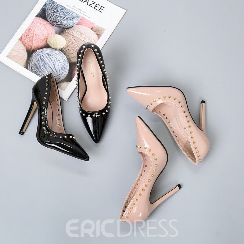Ericdress Thread Pointed Toe Stiletto Heel Rivet Pumps