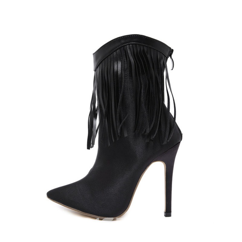 Ericdress Pointed Toe Back Zip Taseel Ankle Boots
