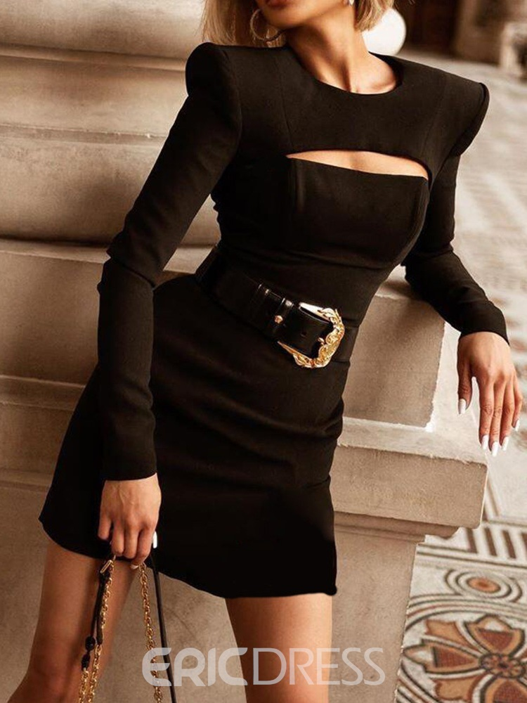 Ericdress Above Knee Round Neck Long Sleeve Pullover Fall Dress